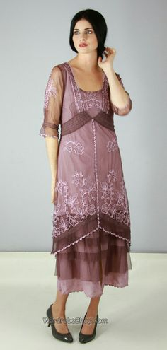 Titanic Tea Length Dress in Mauve at Wardrobeshop.com - $234 - Vintage style clothing for weddings, cosplay etc.
