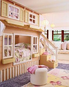 Unique Girls Bunk Beds for Your Kids: Wonderful Girl Bunk Beds Large Grey Fur Rug Beautiful Chandelier ~ apcconcept.com Bedroom Designs Inspiration