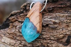 Resin necklace Wood resin Wood resin pendant Wood resin