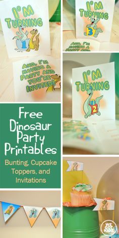 Free Dinosaur Party Printables: Triangular Bunting, Cupcake Toppers, and 1st, 2nd, and 3rd Birthday Party Invitations #printables #dinosaurs #birthdayparty http://www.wegotkidz.com/free-dianosaur-party-printables-1st-2nd-3rd-birthday/
