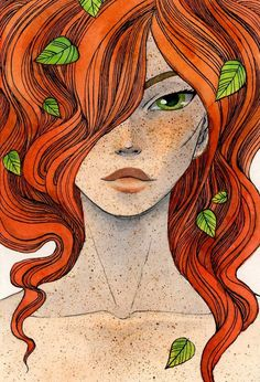ex libris welcom to my fantasie world ♡ sophis world Art And Illustration, Redhead Art, Red Hair Don't Care, Ginger Girls, Poison Ivy, Freckles, Caricature, Female Art, Art Girl