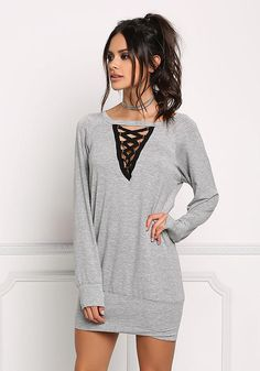 Heather Grey Plunge Caged Tunic Top - New