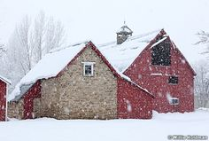 Red Bonner Barn in winter with snow flakes falling, Midway, Utah, Favorite