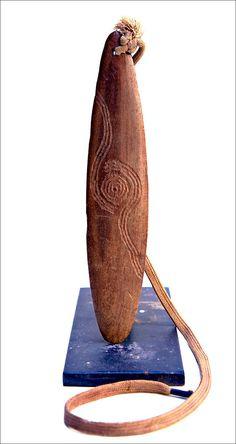 Australian Aboriginal Hairpin Bull-roarer with Boot-lace #Churinga