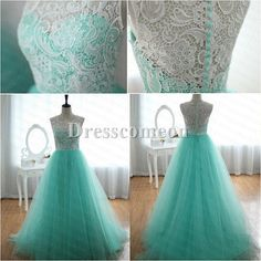 Lace Tulle Wedding Dress Prom Ball Gown Blue Tulle Dress Turquoise Sweetheart Dress from wonderxue on Etsy. Saved to prom dresses. Mint Prom Dresses, Prom Dress 2014, A Line Prom Dresses, Lace Evening Dresses, Cheap Prom Dresses, Prom Party Dresses, Bridesmaid Dresses, Prom Gowns, Graduation Dresses