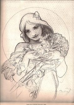 alphonse mucha. I like his pencil studies almost more than the finished objects. (Retrato humano realista)