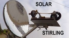 Motor Stirling Gama tendo como fonte de calor o sol, através de uma parabólica de 60 cm de diâmetro, forrada com aproximadamente 6000 espelhos de 10 X 10 mm,...