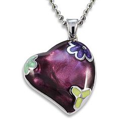 Stainless Steel Purple Resin Heart Necklace