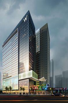 W Chengdu open in July 2020 Office Building Architecture, Hotel Architecture, Unique Architecture, Commercial Architecture, Futuristic Architecture, Architecture Layout, Future Buildings, Building Concept, Luxury Homes Dream Houses
