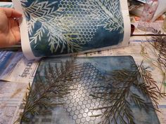Gelli printing with Sandra Pearce -- Printing with leaves and a stencil. This one has a yummy colour, blue and a bit of black I think.