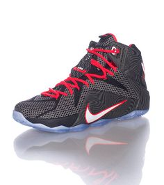 hot sale online 72394 69839 NIKE Lebron James Brand new Lebron 12 model Flywire tech detail NIKE swoosh  on toe Heel straps Icy sole Inner zoom cushioning for ultimate comfort
