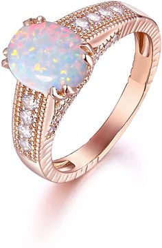 Aooaz Womens Rings Rose Gold Plated Stainless Steel Pink Cubic Zirconia Rings 2Mm Size 8 Novelty Jewelry Gift