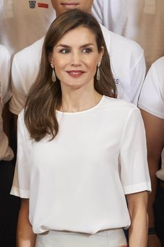 Queen Letizia of Spain attends audiences at Zazuela Palace on July 5, 2017 in Madrid, Spain.