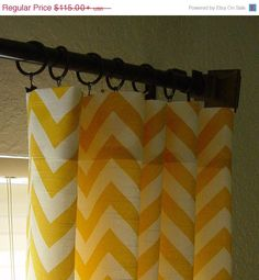 SALE Pair of Rod Pocket Curtains in Corn Yellow and by SewPanache, $105.00