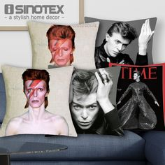 Find More Cushion Cover Information about 1 Pcs 43*43cm David Bowie Rock Star Pop Cushions Linen Cushion Cover Family Badges Throw Pillow For Living Room Bed Room,High Quality pillow block bearing housing,China pillow case pattern free Suppliers, Cheap pillow pack from The Home Shop on Aliexpress.com