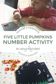 Easy to set up tot school activity for Halloween counting pumpkins on the gate. Inspired by the song and book Five Little Pumpkins.#countingactivity #totschool #toddlermath #preschoolmath #mathcenter #rainydaymum