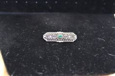 Vintage Edwardian Pin/Brooch -- 10K white Gold and Emerald Brooch -- Vintage, Collectible, and Just-Plain-Cool Jewelry - Inspirations by Rebecca