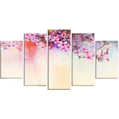 DesignArt 'Watercolor Painting Cherry Blossoms' 5 Piece Painting Print on Canvas Set