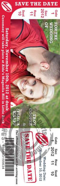 Ticket style sporting event save the date custom designed, check us out for your wedding.