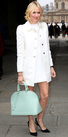 Naomi Watts. Louis Vuitton White Coat.