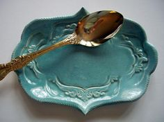 Ornate Robins Egg Blue Spoon Rest or Tray