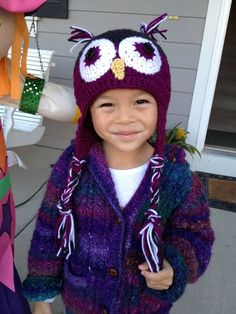 Owl hat and knitted cable pattern jacket.