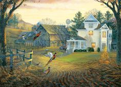 Country Crossing Pheasants by Sam Timm. 1000-Piece Puzzle.