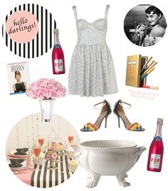 Audrey Hepburn themed Champagne Party for Wedding Shower!!!! But instead of pink, Tiffany Blue!