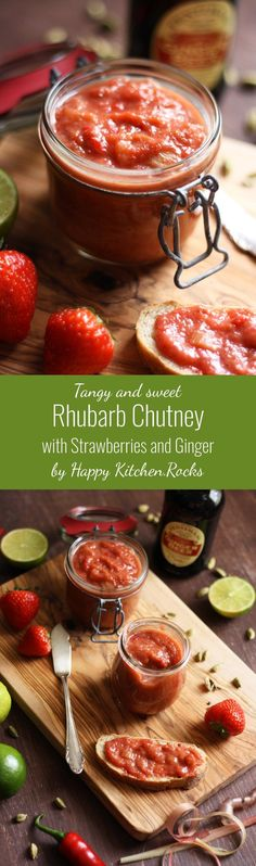 This tangy and sweet Indian rhubarb chutney with strawberries and ginger is packed with nutrients, while being vegan, vegetarian, low carb, paleo, gluten-free and incredibly delicious! Perfect condiment for spring and summer BBQ!