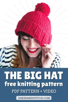 How to Knit a Chunky Hat for Beginners - Sheep and Stitch : Want to learn how to knit a hat for beginners? Knit an easy hat with this free pattern and step-by-step video tutorial. This hat is knit in the round with chunky yarn Free Knitting Patterns For Women, Chunky Knitting Patterns, Easy Knitting, Knitting For Beginners, Knitting Ideas, Crochet Patterns, Chunky Hat Pattern, Beanie Pattern, Easy Knit Hat