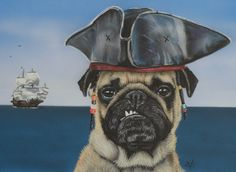 Etsy の Pirate Pug by VictoriaColemanArt