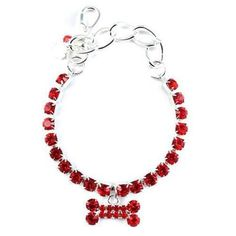 One Row Crystal with Red Bone Dog Necklace – Bark Label