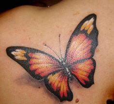 tatuagem feminina borboleta 3d