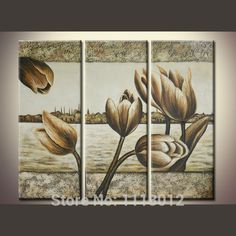 Hand Painted Modern Oil Painting Flowers Canvas 3 Panel Classical Lily Art Set Home Wall Decoration Picture For Living Room Sale