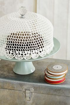 Lace cake dome made by stiffening lace over a bowl.