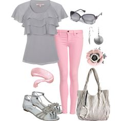 """Pink and Gray"" by pamnken on Polyvore"