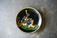 Small Tlaquepaque Plate Vintage 1940's Mexican by susantique, $28.00