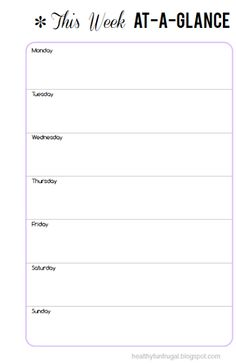 Weekly Schedule Printable  Planners Schedule Printable And