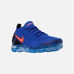 Three Quarter view of Mens Nike Air VaporMax Flyknit 2 Running Shoes in Racer Blue/Total Crimson/Black Nike Air Vapormax, Mens Nike Air, Nike Basketball Shoes, Nike Shoes, Men's Outfits, Casual Outfits, Athleisure, Nike Free, Latest Styles