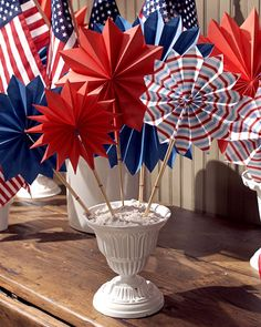 From Martha Stewart: These festive, easy-to-make fans are ideal for last-minute Fourth of July entertaining. You can cluster a group of them in a bowl to create a celebratory centerpiece or place one on each place setting as a colorful and cooling party favor.