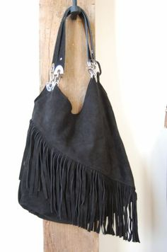 Owen Barry suede shoulder bag stunning and sensual fully lined bag holds multiple pockets and exquisite metal features and front fringing £125
