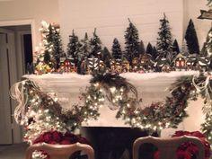 christmas village displays   Christmas village mantle display   Christmas