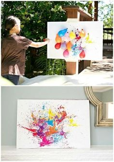 BALLOON DART PAINTING WITH KIDS- DIY painting with children outdoors: just fill paint in balloons, inflate something, play darts and hang the artwork ;-] DIY Outdoor Fun Activity and Art for Kids with Balloons and Color Kids Crafts, Arts And Crafts, Party Crafts, Painting For Kids, Diy Painting, Balloon Painting, Action Painting, Outdoor Painting, Arrow Painting
