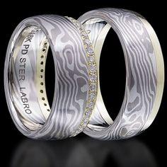 White Gold, Green Gold and Silver Mokume Gane Wedding Bands Set with Diamonds. $3,700.00, via Etsy.