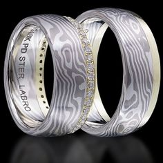 White Gold, Green Gold and Silver Mokume Gane Wedding Bands Set with Diamonds. $3,700.00, via Etsy.