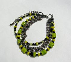 Lime and Black Bracelet Triple Strand Bracelet by Sparklesbythesea