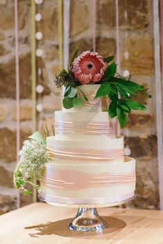 White Cake Protea Marks Spencer Modern Natural Pink Metallic Wedding http://photosbyzoe.co.uk/