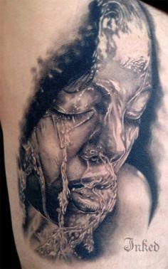 "Realistic black and grey piece by Jose ""Mota"" Ortega #InkedMagazine #blackandgrey #tattoos #realism #realistic #tattoo #Inked #ink"