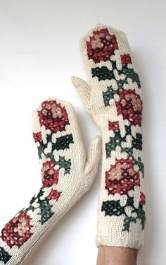 Hand Knitted Mittens, Women, Accessories, Gloves & Mittens, Ivory, Pastel Pink, Rose, Red Wine, Green, Cross Stitch Embroidered, Long