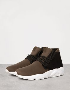 Men's combined technical high tops - Shoes - Bershka Germany Best Sneakers, High Top Sneakers, Fresh Shoes, Shoe Box, Espresso, Skateboard, Men's Shoes, High Tops, Trainers